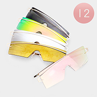 12PCS - Oversized Mirror Lens Rectangle Sunglasses