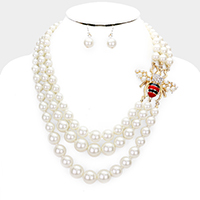 Honey Bee Accented Pearl Triple Strand Necklace