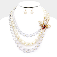 Honey Bee Accented Pearl Lucite Triple Strand Necklace