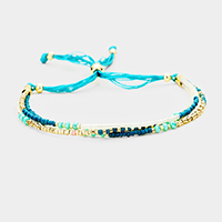 Triple Strand Multi Beaded Cinch Bracelet