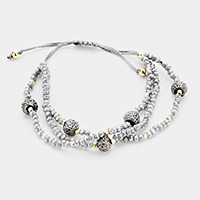 Triple Strand Shamballa Ball Station Cinch Bracelet
