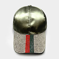 Bling Crystal Embellished Color Block Baseball Cap