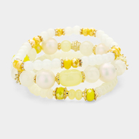 3PCS Multi Beaded Stretch Bracelets