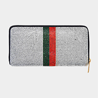 Crystal Rhinestone Pave Color Block Zipper Wallet