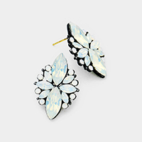 Floral Crystal Statement Stud Evening Earrings