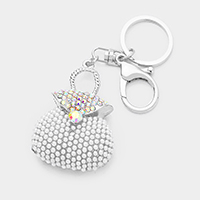 Crystal Pearl Cluster Bag Key Chain