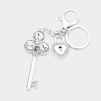 Crystal Clover Key Heart Lock Key Chain
