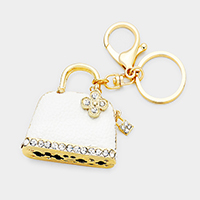 Crystal Leather Bag Key Chain