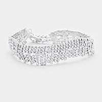 Abstract Wavy Crystal Rhinestone Pave Evening Bracelet