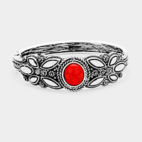 Tribal Red Coral Accented Hinged Bracelet