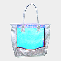 Transparent Hologram Detail Beach Tote Bag