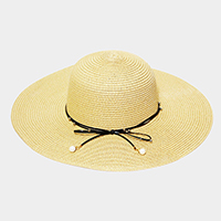 Bow Ribbon Trim Wide Brim Straw Sun Hat