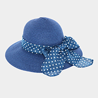 Polka Dot Bow Ribbon Trim Straw Sun Hat