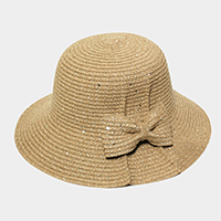 Bow Accented Straw Sun Hat