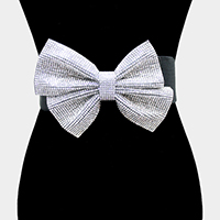 Rhinestone Pave Bow Elastic Stretch Belt