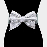 Crystal Rhinestone Pave Bow Elastic Stretch Belt