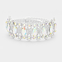 Oval Crystal Detail Rhinestone Pave Cuff Evening Bracelet