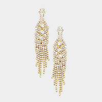 Crystal Rhinestone Pave Fringe Evening Earrings
