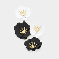 Two Tone Double Bloom Flower Link Dangle Earrings
