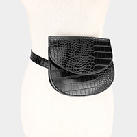 Crocodile Skin Patterned Leather Fanny Pack