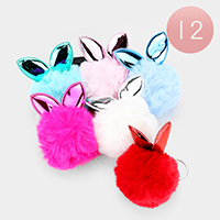 12PCS - Bunny Ear Pom Pom Key Chains