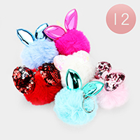 12PCS - Bow Animals Ear Pom Pom Key Chains