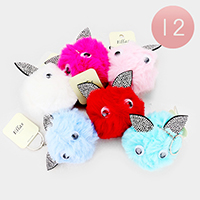 12PCS - Animal Pom Pom Key Chains