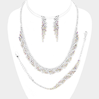 3PCS Crystal Rhinestone Pave Necklace Jewelry Set