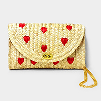 Embroidery Heart Straw Clutch Bag