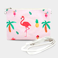 Flamingo Palm Tree Printed Clutch Bag