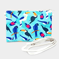Parrot Printed Clutch Bag