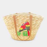 Embroidery Parrot Straw Shoulder Bag