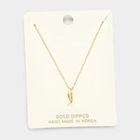 Gold Dipped Metal Fishbone Pendant Necklace