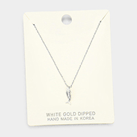 White Gold Dipped Metal Fishbone Pendant Necklace