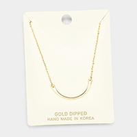 Gold Dipped Curved Metal Pendant Necklace