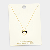 Gold Dipped Metal Heart Pendant Necklace