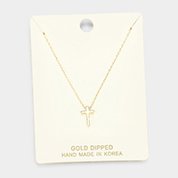 Gold Dipped Metal Cross Pendant Necklace