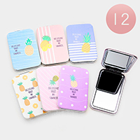 12PCS - Pineapple Printed Rectangle Compact Mirrors