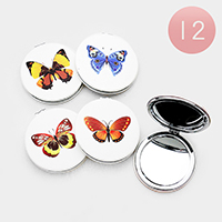 12PCS - Butterfly Printed Round Compact Mirrors