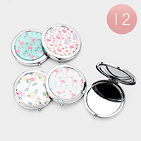 12PCS - Flamingo Printed Round Compact Mirrors