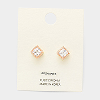 Gold Dipped CZ Square Stud Earrings