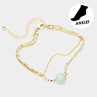 Double Layered Round Semi Precious Accented Anklet