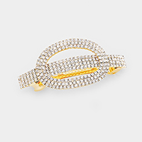 Oval Hoop Accented Crystal Rhinestone Pave Barrette