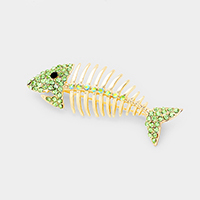 Crystal Fishbone Pin Brooch