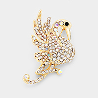 Crystal Flamingo Pin Brooch