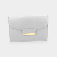 Leather Gold Detail Clutch Crossbody Bag
