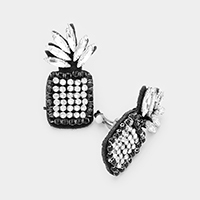 Crystal Embellished Pineapple Clip on Earrings