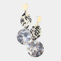 Celluloid Acetate Leaf Disc Link Earrings