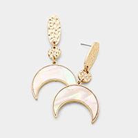 Mother of Pearl Crescent Moon Dangle Earrings