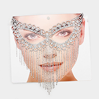 Crystal Rhinestone Pave Cat Eye Fringe Mask